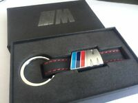 New Alloy Leather metal Keyring keychain Car Logo M ///M Tech with retail box