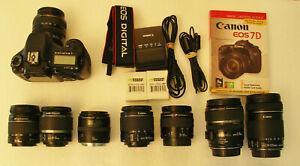 VERY GOOD Canon EOS 7D 18.0 MP Digital SLR Camera Body W/Assorted Lenses, extras