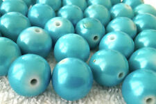 40 Turquoise blue colour opaque plastic beads 11mm   AB0221