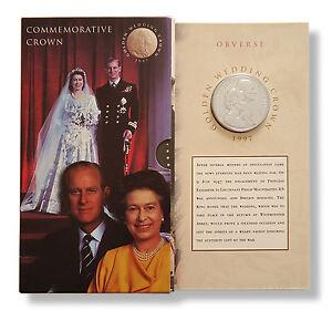 1997 UK £5 Coin QEII Golden Wedding Presentation Pack Royal Mint New + Sealed