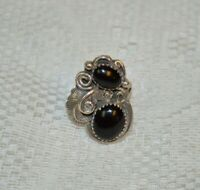 Vintage Handmade Sterling Silver and Onyx Ring Size 6.25