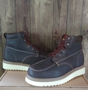 """Wolverine Mens 6"""" Loader Soft Moc Toe Wedge Work Boots Brown Size 11.5 W W10744"""