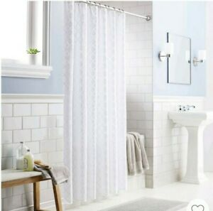 "Shower Curtain Dyed Clipped Diamond White  Threshold 72""×72"" New 100%Cotton"