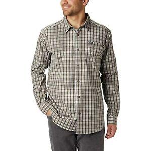 Columbia Vapor Ridge Iii Long Sleeve Button Shirt Medium Dark Stone Mini Check