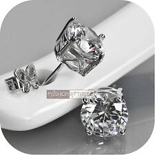 18ct white gold filled GF round brilliant simulated diamonds stud earrings
