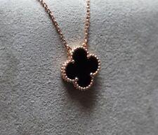Cleef Clover Vintage Motif Pendant Necklace, Black Onyx, 18K Pink Gold