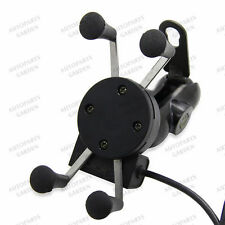 """3.5-6"""" Phone GPS LED Mount Holder with USB Charger for Bike Motorcycle Universal"""
