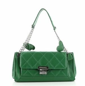 Chanel Charm Chain Accordion Push Lock Flap Bag Quilted Leather Medium