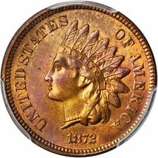 1872 INDIAN HEAD CENT 1C PCGS MS65 RB NICE COLOR, NEARLY FULL RED, PG = $3,950!