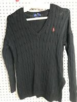 Ralph Lauren Womens Knit Sweater Black Long Sleeve Cable Knit Polo V Neck Sz XS