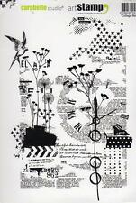 "New Carabelle Studio Cling Rubber Stamp XXL 7x5"" A5 NATURE COLLAGE free usa ship"