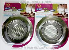 "2 Pc Steel Sink Strainers Kitchen Sink Heavy Duty 4.5"" Outer 2.75"" Inner 1"" Deep"