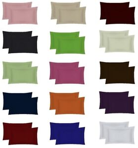 2 x Covers Easy Care Oxford Pillow Cases 100% Poly-Cotton Plain Dyed Pillow Pair