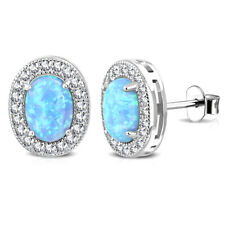 """925 Sterling Silver Clear CZ Simulated Blue Opal Oval Stud Earrings, 0.40"""""""