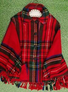 Vintage 60s 70s Jactin Red plaid check wool tartan pocket cape fringe jacket