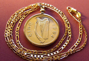 """1994 IRISH PONY HORSE COIN PENDANT on a 24"""" 18K Gold Filled 2.4MM Figaro Chain"""