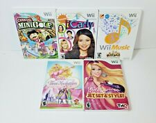 Lot of 5 Nintendo Wii Games - Two Barbie Games, Wii Music, iCarly, Mini Golf