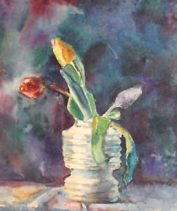 1984 IMPRESSIONIST STILL LIFE WITH ROSES WATERCOLOR PAINTING SIGNED