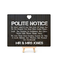Personalised Mr Mrs Facebook Social Media Wedding Wooden Style Metal Plaque Sign