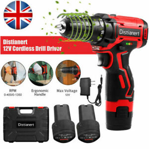 Cordless 12V  Impact Drill Driver 2 Battery Lithium-Ion LED Light Combi Drill