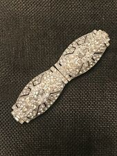 Belt Buckle Metal Pristine Vintage Art Deco Rhinestone Dress