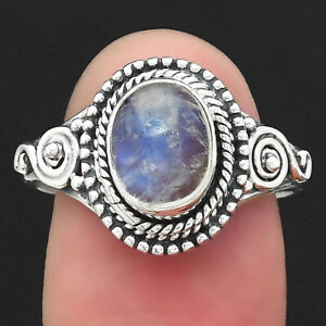 Natural Rainbow Moonstone - India 925 Sterling Silver Ring s.8 Jewelry 4210