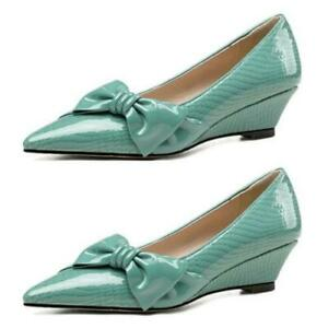 Womens Bowknot Low Heels Pumps Patent Leather Pointy Toe Wedge Slip On Shoes L