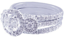 14K WHITE GOLD ROUND CUT DIAMOND ENGAGEMENT RING AND BANDS HALO DECO BRIDAL 2.00