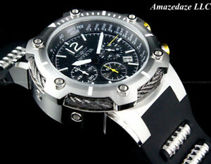NEW Invicta Men's 50mm Bolt Chronograph Stainless Steel BLACK DIAL Watch !!
