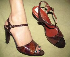 Vintage 1980s Chandler'S Sexy Brown Snakeskin leather ankle strap heels 6B 6 B
