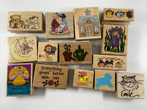 Wood Mounted Rubber Stamp Lot of 14 Mixed Stamps. Bears, Nature Etc.