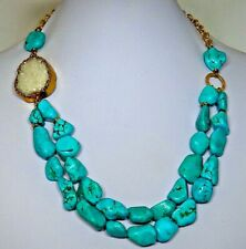 "Genuine Turquoise Necklace 20"" Nuggets and Druzy Quartz Embellishment, Unique!"