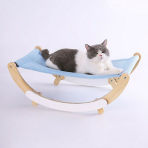 Cat Bed Nest Wooden Pet Hammock Comfy Sleeping Kennel Cave Cushion Removable