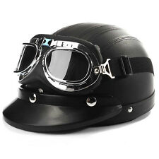 Black Motorcycle Cruiser Leather Half-Open Face Helmet With Sun Visor & Goggles