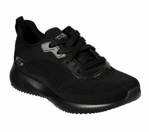 Womens Skechers All Black  Squad Tough Lace Up Sports Gym Trainers Size UK 4 37