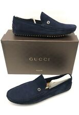 GUCCI BLUE SUEDE LEATHER LOAFERS DRIVERS SHOES Mens Size 8 G / 9 us