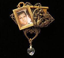 Victorian Inspired Frame Heart Brooch 24 Karat Gold Plate & Brass Crystal Heart