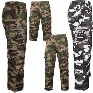 Mens New Army Camouflage Camo Cargo Combat Fleece Lined Thermal Trousers Pants