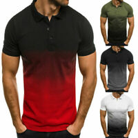 Mens Polo Shirts Gradient Summer Short Sleeve Muscle Tee Tops T Shirt Blouse