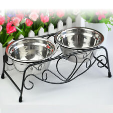 Double Dog Pet Bowl Dish Stainless Steel Stand Feeder Cat Food Water Iro