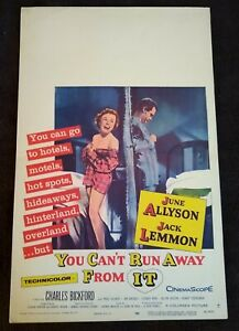 """You Can't Run Away From It 1956 Vintage Window Card (14"""" x 22"""") June Allyson"""