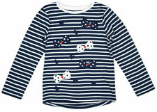Long Sleeve Crew Neck Striped 100% Cotton Girls' T-Shirts & Tops (2-16 Years)