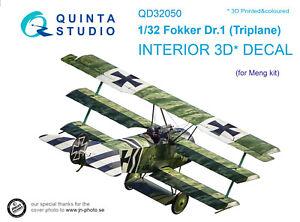 Quinta QD32050 1/32 Fokker Dr.1 3D-Printed & coloured interior (for Meng kit)