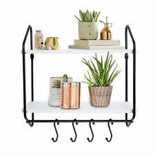2 Tier Wall Shelf White Floating Shelves Bathroom With Towel Bar Hooks 16 Inch