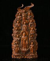 """9.6"""" Old Chinese Boxwood Wood Carved Shakyamuni Buddha Kwan-Yin Goddess Statue"""