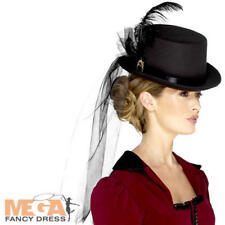 Deluxe Ladies Victorian Top Hat Veil Fancy Dress Womens Adults Costume Accessory