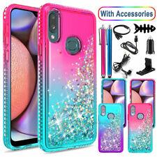 For Samsung Galaxy A10e A10s Heavy Duty Liquid Glitter Bling Case w/Accessories