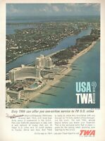 1962 Original Advertising' Twa American Airline Company Aerial Miami Beach Flor