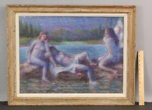 Antique CYRIL GARDNER American Impressionist Bathing Nude Women Pastel Drawing