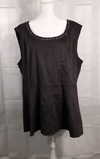 Torrid Peplum Top Blouse Shirt Black Ultra Suede Size 4